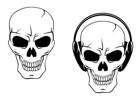 Danger skull in headphones isolated on white background Stock Vector - 20323265