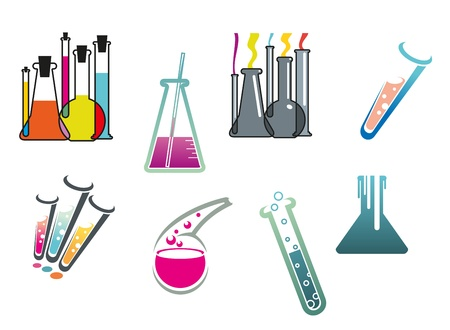 Laboratory and test tubes set isolated on white background for chemistry and pharmacy design Vector