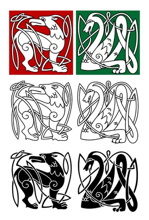 celtic culture: Abstract animals in celtic style for religion or tattoo design Illustration