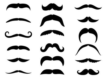 black head and moustache: Black moustaches set isolated on white background