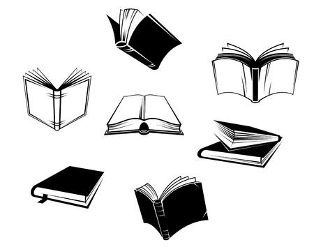 책 아이콘 및 기호에 격리 된 흰색 배경을 설정합니다 일러스트