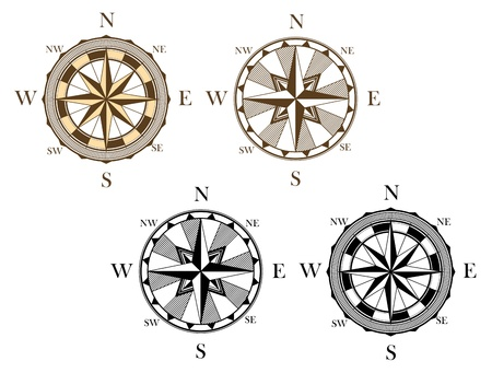 Ancient compass signs set isolated on white background for travel design Vector