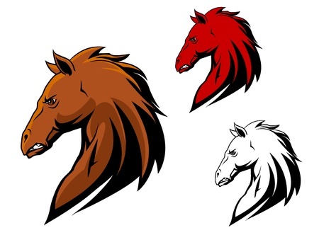 Angry horse stallion for sport or another mascot in cartoon style Vector