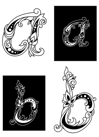 floral letters: Two floral letters A and B in retro style isolated on white and black background