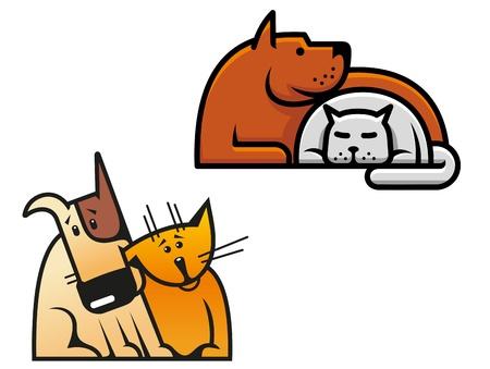 silueta gato negro: Amistad de los perros y gatos para el concepto de diseño de mascotas