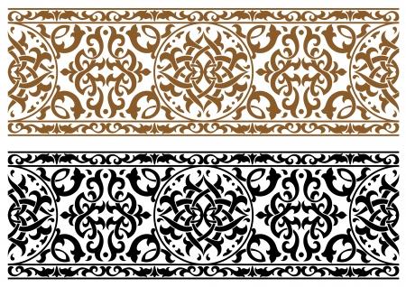 디자인과 화려한 두 가지 색상에서 추상 아랍어 장식 일러스트