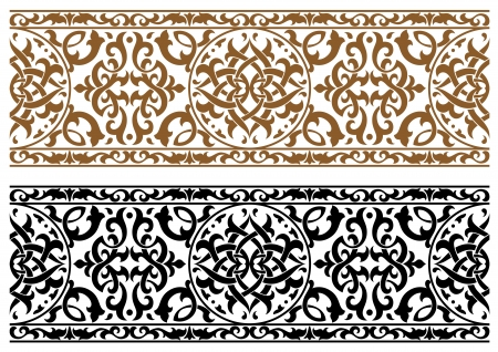 2 つの色のデザインで、華やかな抽象的なアラビア語の飾り