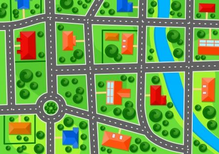 근교: 부동산 개념 설계를위한 교외 마을의지도