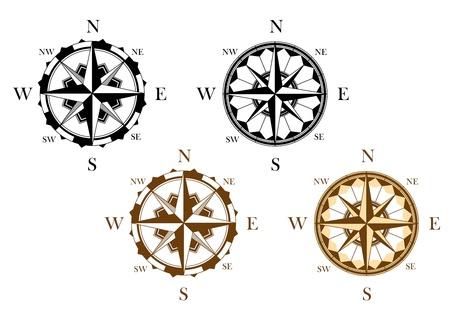 rosa de los vientos: Conjunto de brújulas antiguas establecidas para el diseño de aislados en fondo blanco