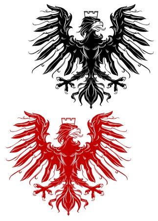 adler silhouette: K�nigliche roten und schwarzen Adler f�r Heraldik Design