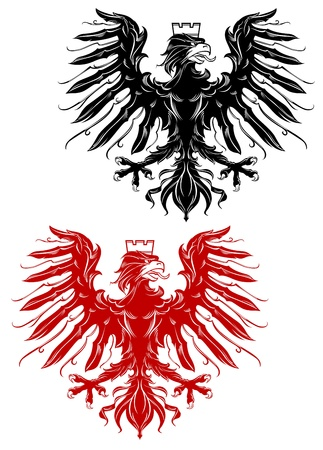 eagle badge: Royal red and black eagle for heraldry design