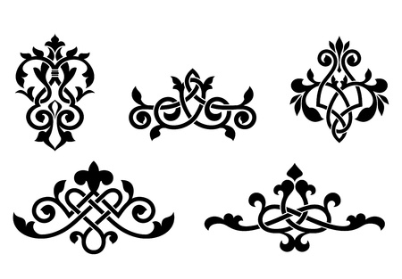 Retro patterns and elements in medieval style for design and ornate Vector