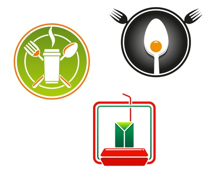 Fast food emblems and symbols for restaurant or junk food concept design Vector
