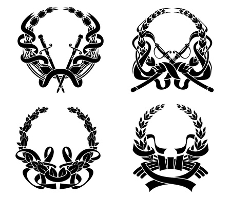 Coats of ams set with swords and ribbons for heraldry design and ornate Vector