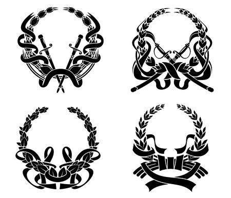 escudo de armas: Escudos de AMS Fijar con espadas y cintas para el diseño de la heráldica y adornado Vectores