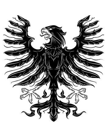 heraldic eagle: Black heraldic eagle in retro royal style