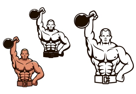 bodybuilder man: Bodybuilder man in cartoon style with dumbbell for sport or mascot design Illustration