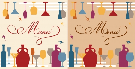 Menu template for bar or restaurant with dishware and bottles
