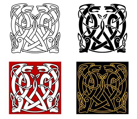 keltische muster: Alte keltische Ornament mit wilden Tieren für jeden Retro-Design