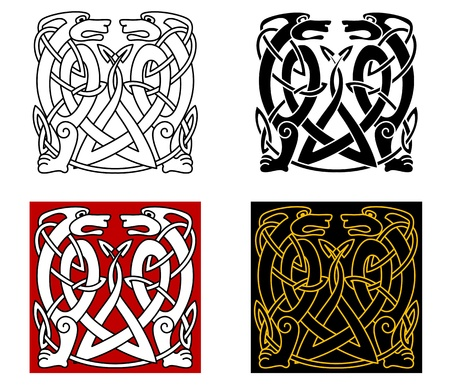 Ancient celtic ornament with wild animals for any retro design Vector