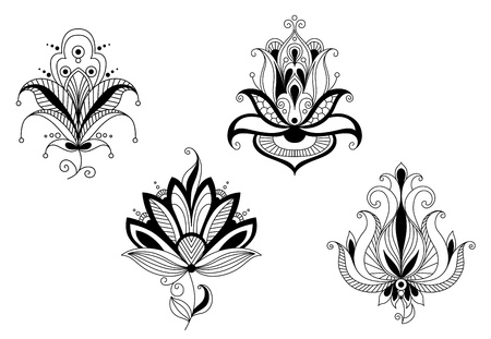 Abstract flower blossoms and petals set for design Vector