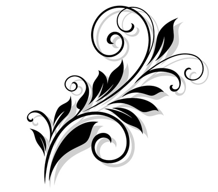Vintage floral element with shadow for design and ornate