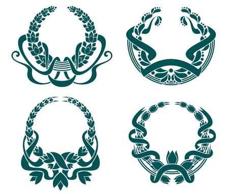 heraldic symbols: Retro coats of arms set for retro design