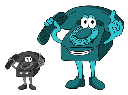 vintage telephone: Smiling telephone in cartoon style for communication concept design