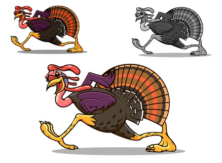 feast day: Running turkey bird in cartoon style for sport team mascot or another design