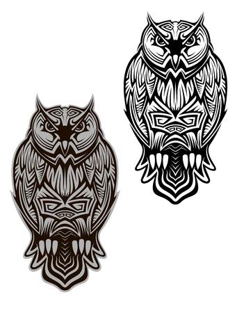 buhos: Búho de aves en estilo tribal de tatuaje u otra medida Vectores