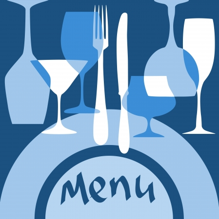 Restaurant menu cover with dishware in blue colors for design