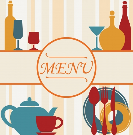 Design of restaurant menu background with dishware and drinks Vector