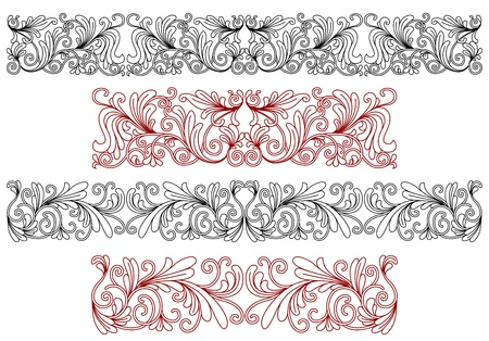 Decorative ornaments and borders with flourishes and embellishments Vector