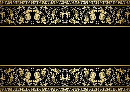 Gilded frame with decorative elements in retro style for design