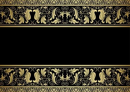 Marco dorado con elementos decorativos de estilo retro para el diseño Foto de archivo - 20916312