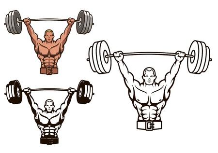 levantando pesas: Culturista con pesas para la mascota de los deportes o el dise�o de concepto de salud