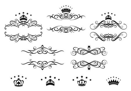 Retro frames set met koninklijke kronen voor wapenkundeontwerp Stock Illustratie