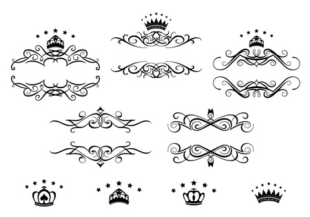 medieval banner: Retro frames set with royal crowns for heraldry design