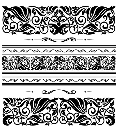 Decorative ornaments and patterns with floral embellishments for design Stock Vector - 21077899
