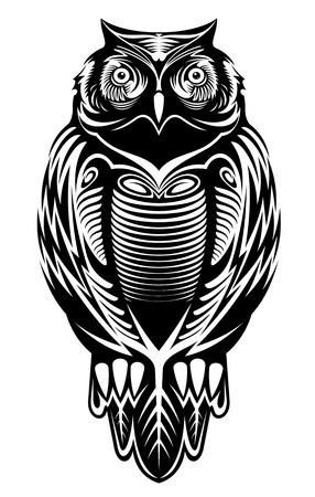 an owl: Majestic owl bird for mascot or tattoo design
