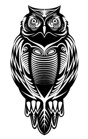 sowa: Majestic ptak sowa na maskotkę lub wzoru tatuażu
