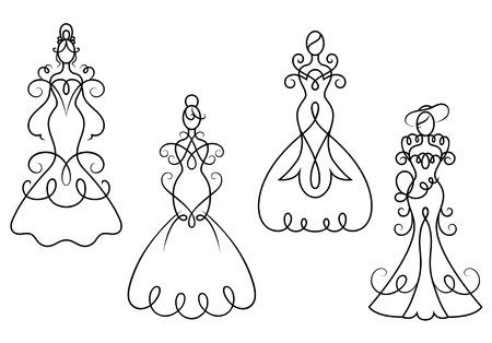 foe: Elegance woman dresses in retro style foe wedding ceremony design