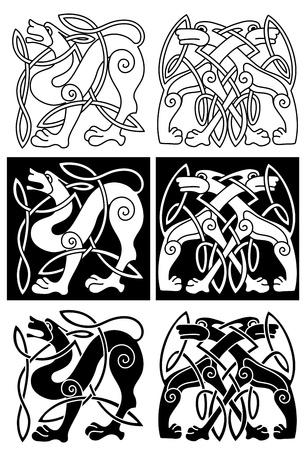 celtic background: Wolves and dogs in celtic ornament for retro design Illustration