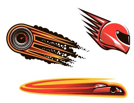 Racing sport elementen en pictogrammen geïsoleerd op een witte achtergrond