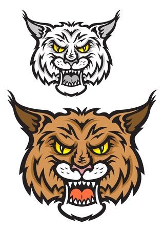 bobcat: Jefe de lince o gato de monte para el equipo de diseño de la mascota del deporte con emociones de ira