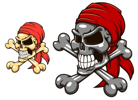 cranial skeleton: Pirate skull with crossbones in cartoon style for tattoo or mascot design Illustration