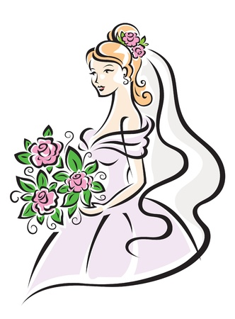 Bride in white dress with flowers for wedding design Vector