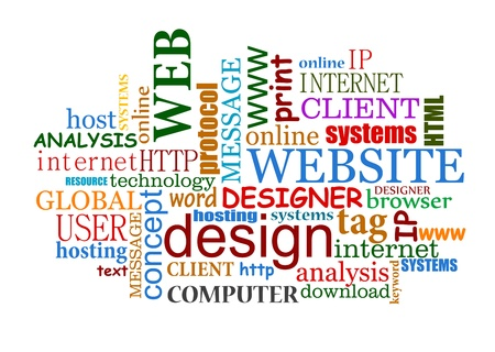 web development: Web and internet design tags cloud with useful words