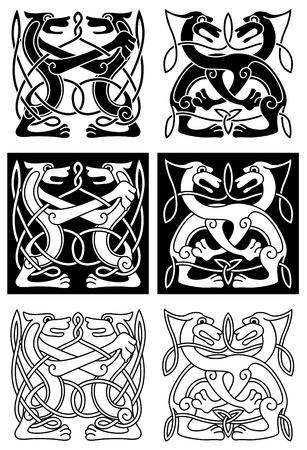 nudos: Tribal celta ornamento con perros salvajes en estilo retro