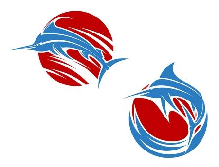 마스코트 디자인 파도에 블루 말린 생선